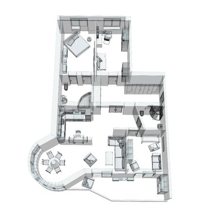 3d sketch of a four-room apartment. Object over white photo
