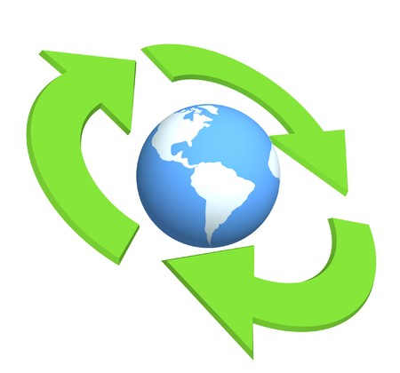 Ecological symbol -  Earth surrounded with green pointers. Object over white photo