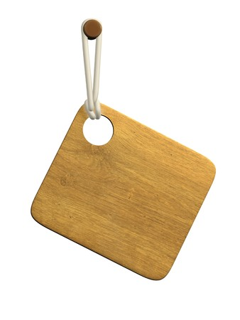 concatenation: Background - the wooden tablet on a cord. Objects over white