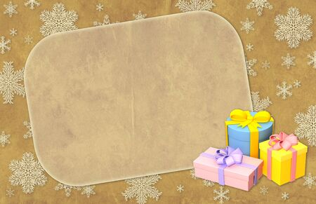 Christmas grunge background with gifts photo
