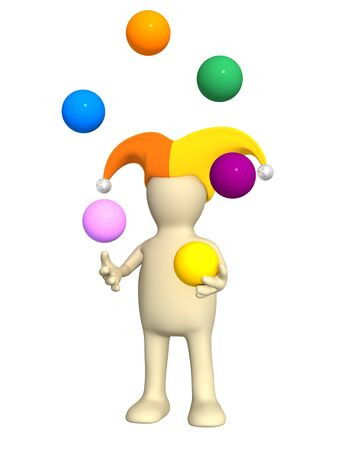 3d clown - puppet, juggling with color balls photo