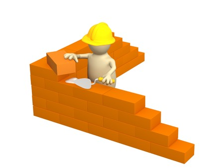 manual worker: 3d puppet - builder, building a brick wall. Object over white