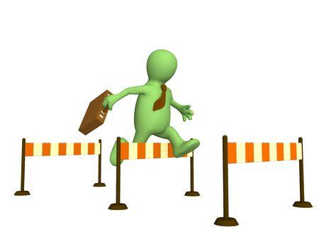 sports symbols metaphors: 3d businessman - puppet, jumping through a barrier