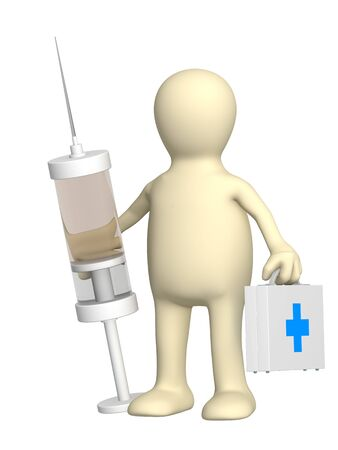 Puppet veterinary with a suitcase and a syringe Stock Photo - 3975156
