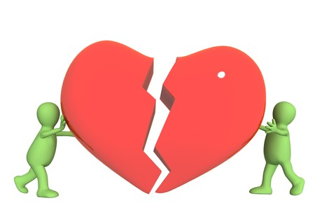 broken contract: Conceptual image - attempt to rescue love Stock Photo