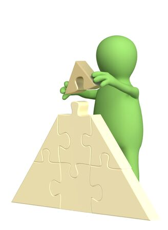 steady: 3d puppet, making a pyramid from puzzles. Over white Stock Photo