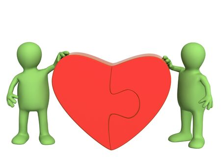 Symbol of love - heart from parts of a puzzle Stock Photo - 4020270