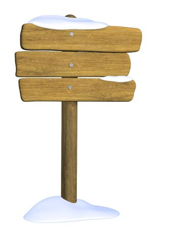 Wooden signboard from three boards. Object over white Stock Photo - 4043316