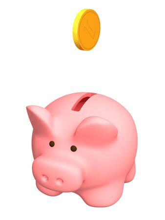 Piggy bank of pink color. Object over white Stock Photo - 4043283