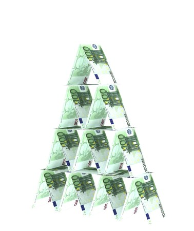 tough luck: Financial pyramid. Objects over white Stock Photo