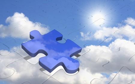 Puzzle - bright sun in the blue sky photo