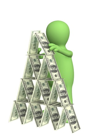 tough luck: 3d puppet, making a pyramid from money. Objects over white