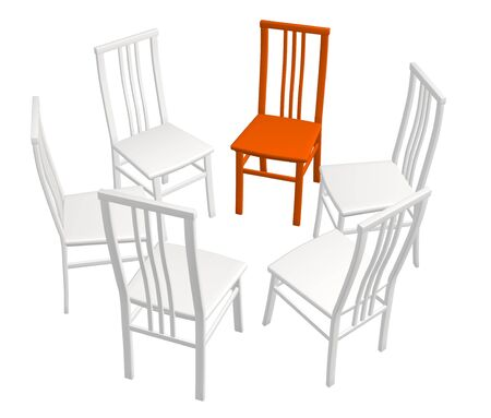 expressing: One red chair in a row of white chairs. Objects over white