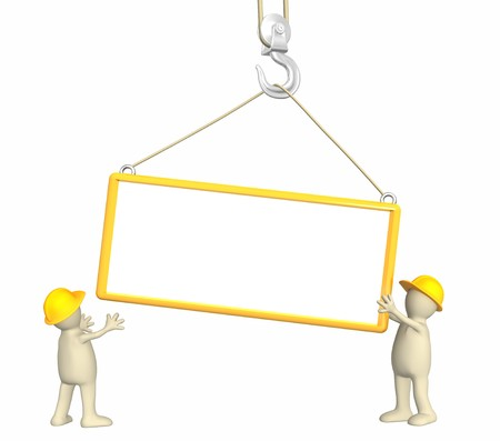 building inspector: Builders - puppets, lowering a frame on a hook
