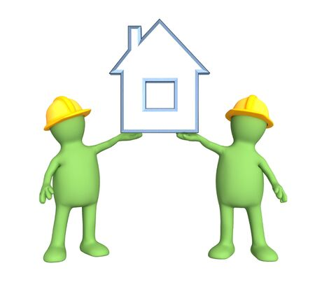 Two builders - puppets, holding in hands the stylized house photo