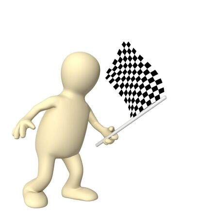 3d puppet with checkered flag. Object over white Stock Photo - 4063402