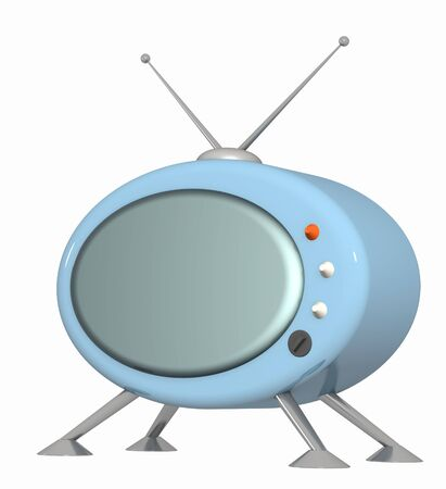 3d stylized model of a retro of the television. Object over white photo