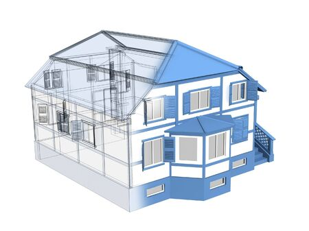 dream house: 3d sketch of a house. Object over white Stock Photo