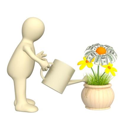 Puppet, watering monetary flower photo