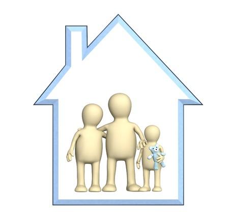 housing: Familia feliz en la casa. Objeto m�s blanco