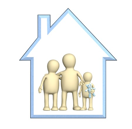 logements: Famille heureuse dans la maison. Objet sur blanc