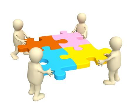 multi colour: Cuatro t�teres, participaci�n en las manos un rompecabezas de m�ltiples colores. Objetos sobre blanco