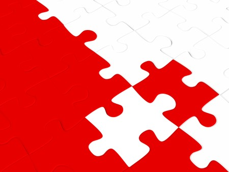 perplexing: 3d puzzles of red and white color