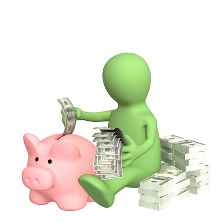 dividend: 3d puppet who is saving money in piggy bank Stock Photo