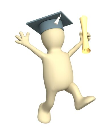 received: Happy 3d puppet with cap, the received diploma. Objects over white