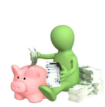3d puppet who is saving money in piggy bank photo