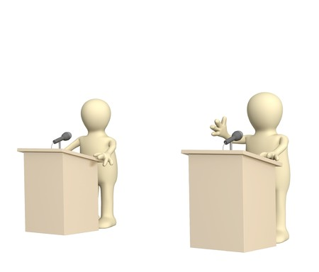 election debate: 3d puppets, participating political debate. Over white