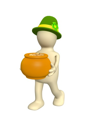 3d leprechaun, carrying pot with gold coins. Over white photo