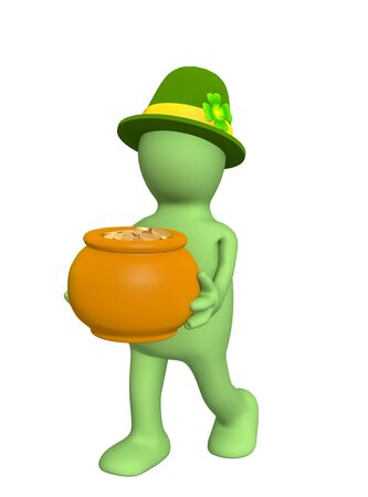 3d leprechaun, carrying pot with gold coins. Over white Stock Photo - 4108094