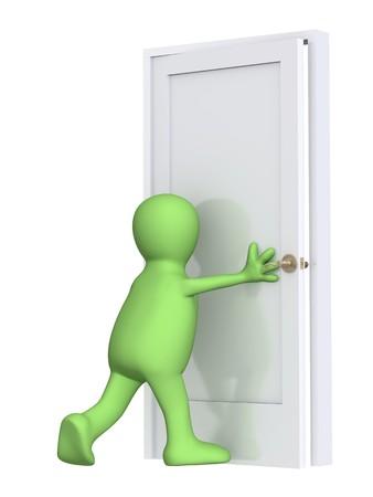 puerta verde: 3d marioneta, el cierre de una puerta. M�s de blanco Foto de archivo