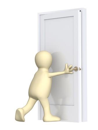 cerrar la puerta: 3d marioneta, el cierre de una puerta. M�s de blanco Foto de archivo