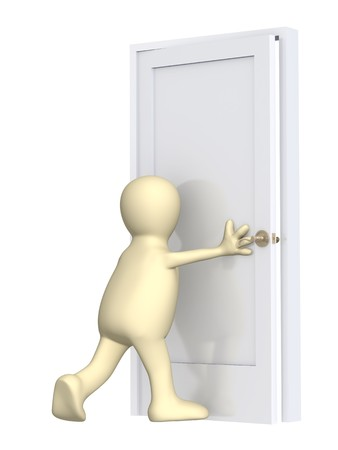3d puppet, closing a door. Over white Stock Photo - 4108107