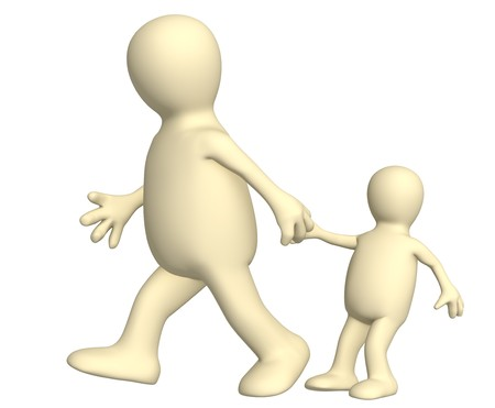 Puppet - adult, pulling for a hand of the small child. Over white