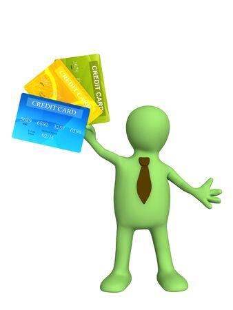 3d marionnette tenue d'une nouvelle carte de crédit Banque d'images