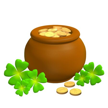 leafed: 3d pot from the clay, filled with gold coins Stock Photo