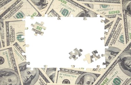 Background from a puzzle with the image of dollars Stock Photo