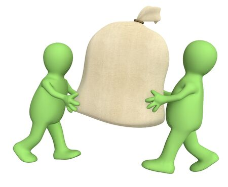 Two 3d puppets carrying big bag. Object over white photo