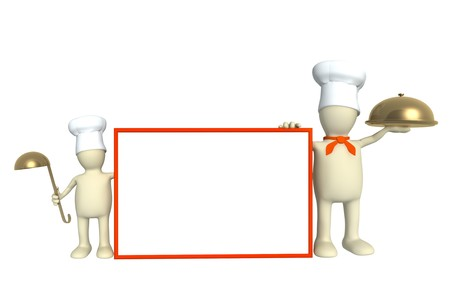 family eating: Family of cooks - parent and child. Object over white Stock Photo