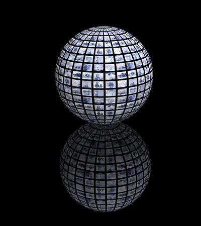 3d sphere with photos of blue color photo