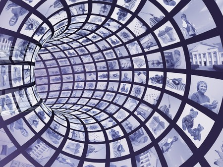 Internet concept -  3d abstract blue tunnel Stock Photo - 4295919