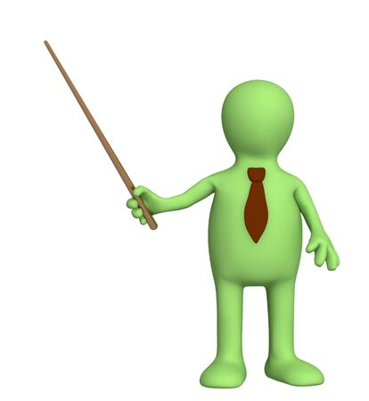 3d puppet - businessman in a tie with pick. Objects over white Stock Photo - 4335626