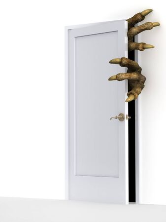 murderer: Dark series - monster opening a door Stock Photo