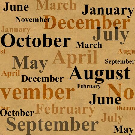 Grunge background with names of months Stock Photo - 4335647
