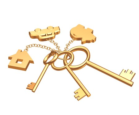 Three 3d gold keys with labels. Objects over white photo