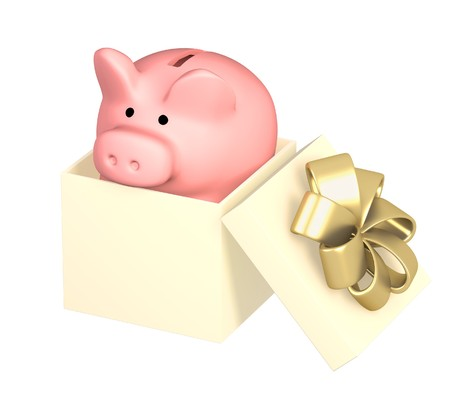 christmas debt: Piggy bank in gift packing