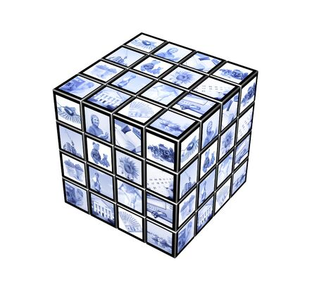 3d cube with photos of blue color photo